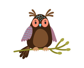 Canvas Prints Owls cartoon Vector Owl. Cartoon cute owl on tree branch illustration isolated on white
