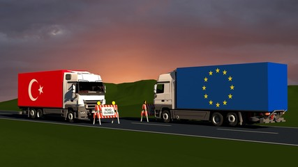 Trade restrictions between Turkey and Europe / concept