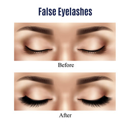 Eyes False Lashes Realistic Illustration