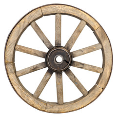 Rustic old wooden wheel
