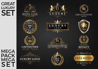 Great Luxury Set, Royal and Elegant Logo Template Vector Design Eps 10
