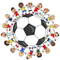 Kinder in Fußballtrikots vereint um Fußball - Vektor Illustration