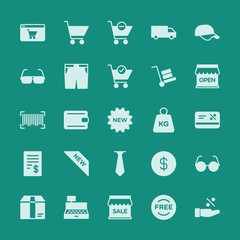 Modern Simple Set of clothes, shopping Vector fill Icons. ..Contains such Icons as discount,  cargo, wallet,  woman,  symbol, cap,  dollar and more on green background. Fully Editable. Pixel Perfect.