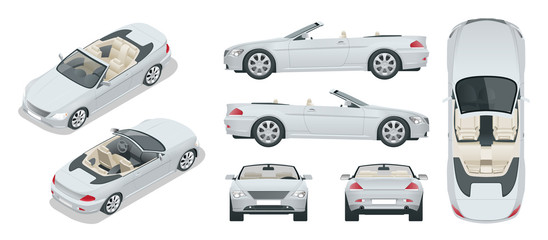 Transfer, Cabriolet car. Cabrio coupe vehicle template vector isolated on white. View front, rear, side, top, isometric. All elements in groups