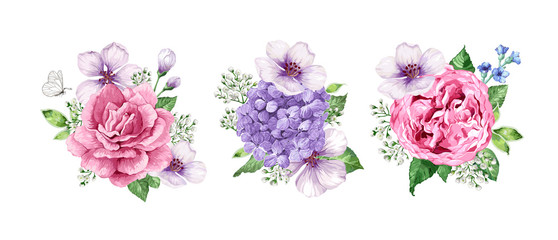 Set Of Flower Bouquets Apple Tree Gypsophila In Watercolor Style Isolated On White Background