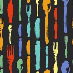 Seamless pattern of spoons, knife, fork painted by colorful chalks on blackboard. Menu. Restaurant. Silverware.