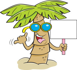 Cartoon illustration of a palm tree wearing sunglasses and holding a sign.