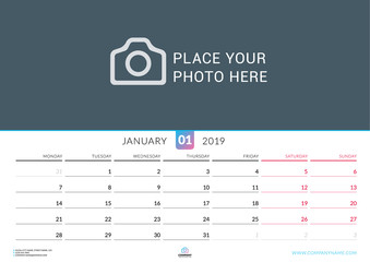 Wall calendar for January 2019. Vector design print template with place for photo. Week starts on Monday. Landscape orientation