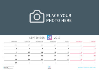 Wall calendar for September 2019. Vector design print template with place for photo. Week starts on Monday. Landscape orientation
