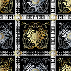 Check greek key vector seamless pattern. Black modern background with gold silver radial love hearts, vintage flowers, leaves, swirl lines, checkered greek key stripes, borders and meander ornaments.