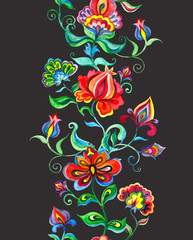 Whimsical floral ornament - seamless border with slavic stylized flowers. Watercolor