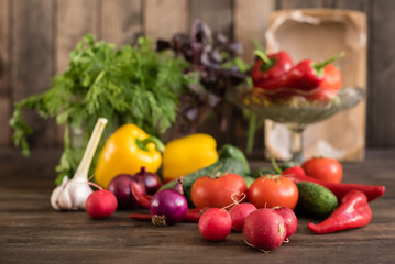 Fresh healthy organic vegetables. Food background
