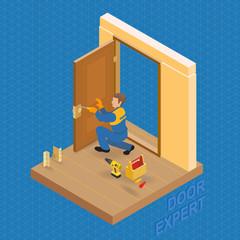 Isometric interior repairs concept. Builder  fixes a door handle