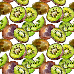 Exotic kiwi healthy food in a watercolor style pattern. Full name of the fruit: kiwi. Aquarelle wild fruit for background, texture, wrapper pattern or menu.