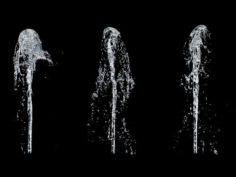 fountain of water isolated on a black background 3d rendering