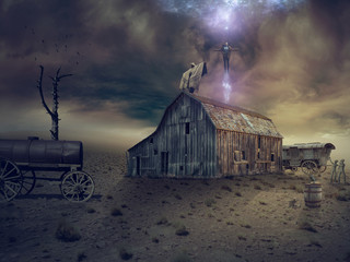 Fantasy manipulation - a mystical ritual on the roof of an old barn