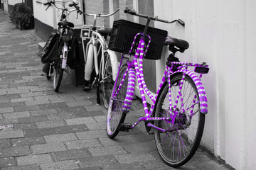 Pink Purple White Striped Painted Bike Bycicle Black And Grey White Background