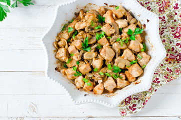 Chicken (turkey) breast baked with mushrooms and onions