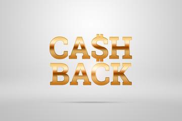 Inscription Cash Back, emblem image on white background. Business concept, money back, finances, customer focus. White, gold color. Illustration, 3d.