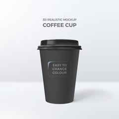 Vector 3d realistic mockup of black paper coffee cup. Template for design of packing of drink. Easy to change colour. Isolated from the background.