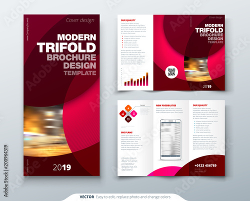 Tri fold brochure design with circle, corporate business template ...