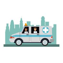 Ambulance emergency vehicle vector illustration graphic design