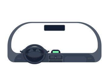 Car salon isoated on white background. Inside automobile. Car rudder or steering wheel. Flat vector illustration.
