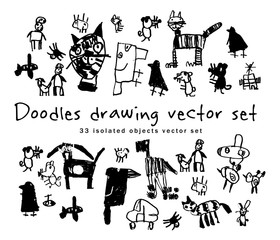 Doodles drawing set isolated objects black and white