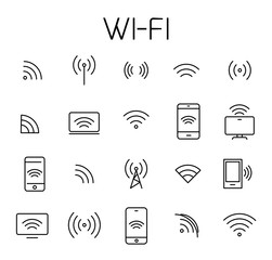 Wi-fi related vector icon set.