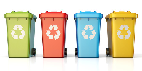 Containers for recycling waste sorting plastic, glass, metal, paper front view 3D
