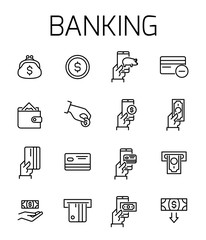 Banking related vector icon set.