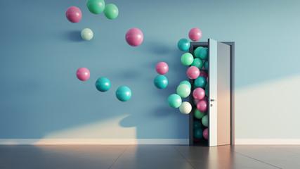 Balloons fly away through open door Wall mural