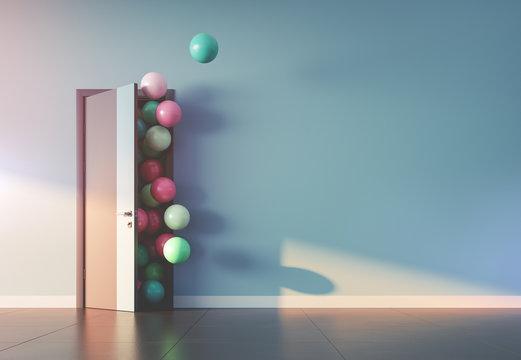 Balloons fly away through open door