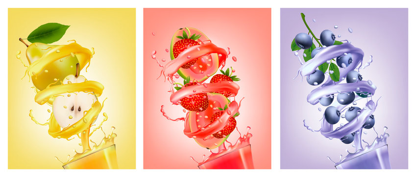 Set of fruit in juice splashes. Pear, strawberry, blueberry, guava. Vector.