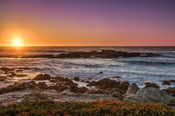 Colorful Sunset at Carmel Shore in California