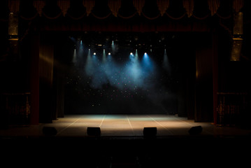 scene, stage light with colored spotlights and smoke Fotomurales