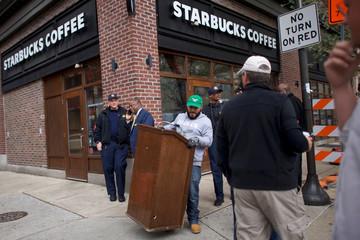 A lectern is set up before Philadelphia Councilmen addressed the media, outside the Center City Starbucks, where two black men were arrested, in Philadelphia, Pennsylvania