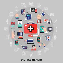 Digital Health Fat Symbols Circle