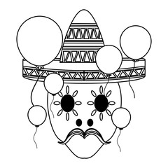 sugar skull with mexican hat and decorative balloons around over white background, vector illustration