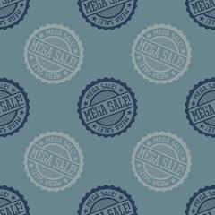 Mega Sale seamless pattern. Seamless badge pattern, backdrop for your design.