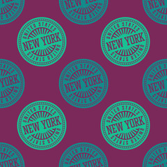 New York seamless pattern. Seamless badge pattern, backdrop for your design.