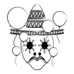 sketch of sugar skull with mexican hat and decorative balloons around over white background, vector illustration