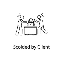 worker is scolded by client icon. Element people at the workplace for mobile concept and web apps. Thin line icon for website design and development; app development. Premium icon