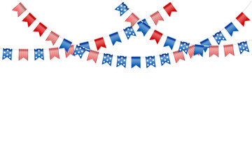 Bunting party flags for american independence day. Holiday decoration. Isolated vector design elements.