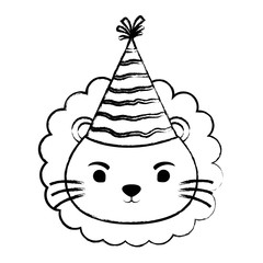sketch of cute lion with party hat over white background, vector illustration