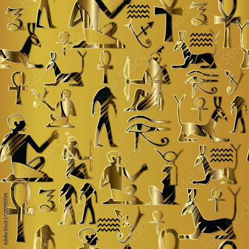 Egyptian Seamless Pattern African Ethnic Gold Background Tribal 3d