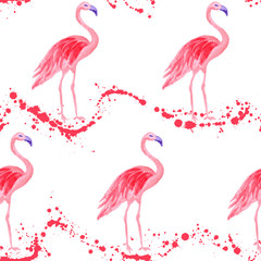 Poster Flamingo Fashionable flamingo watercolor seamless pattern. Paint splashes waves backdrop, pink stains wavy splatter. Flamingo pink bird watercolor fabric background, seamless fashionable pattern design.