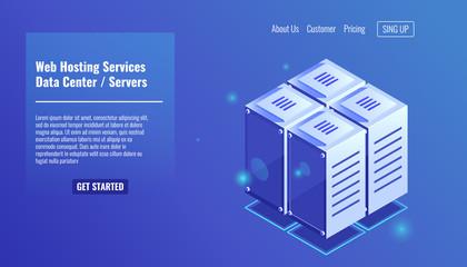 Server room, isometric rack icon, website hosting services, datacenter concept vector illustration