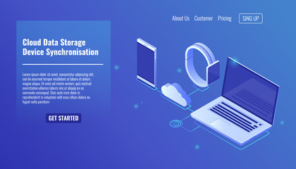Cloud data server storage, electronic devices data synchronization, mobile phone smartphone, smartwatch, laptop isometric vector icons