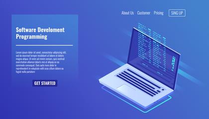 Software development and programming, program code on laptop screen, big data processing, computing isometric